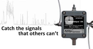 Der MegaDipol 300DX von NTi ist ein breitbandiger aktiver Dipol mit max. 300MHz oberer Grenzfrequenz, der auf die elektrische Komponente (E-Feld) des elektromagnetische Feldes anspricht.
